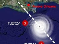 Trayectoria del huracan Gustav
